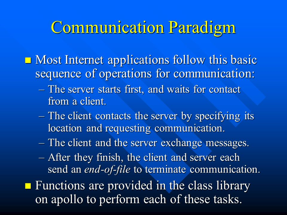 Communication Paradigm Most Internet applications follow this basic sequence of operations for communication: Most Internet applications follow this b
