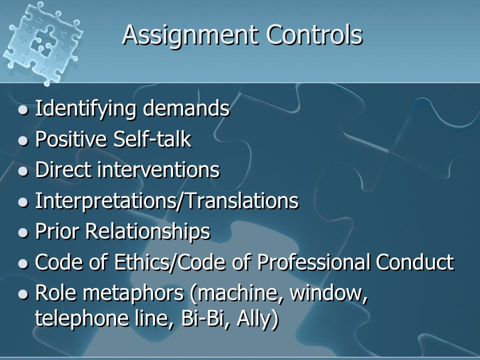 Assignment Controls Identifying demands Positive Self-talk Direct interventions Interpretations/Translations Prior Relationships Code of Ethics/Code o