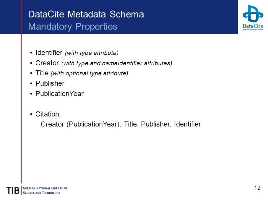 12 DataCite Metadata Schema Identifier (with type attribute) Creator (with type and nameIdentifier attributes) Title (with optional type attribute) Publisher PublicationYear Citation: Creator (PublicationYear): Title.