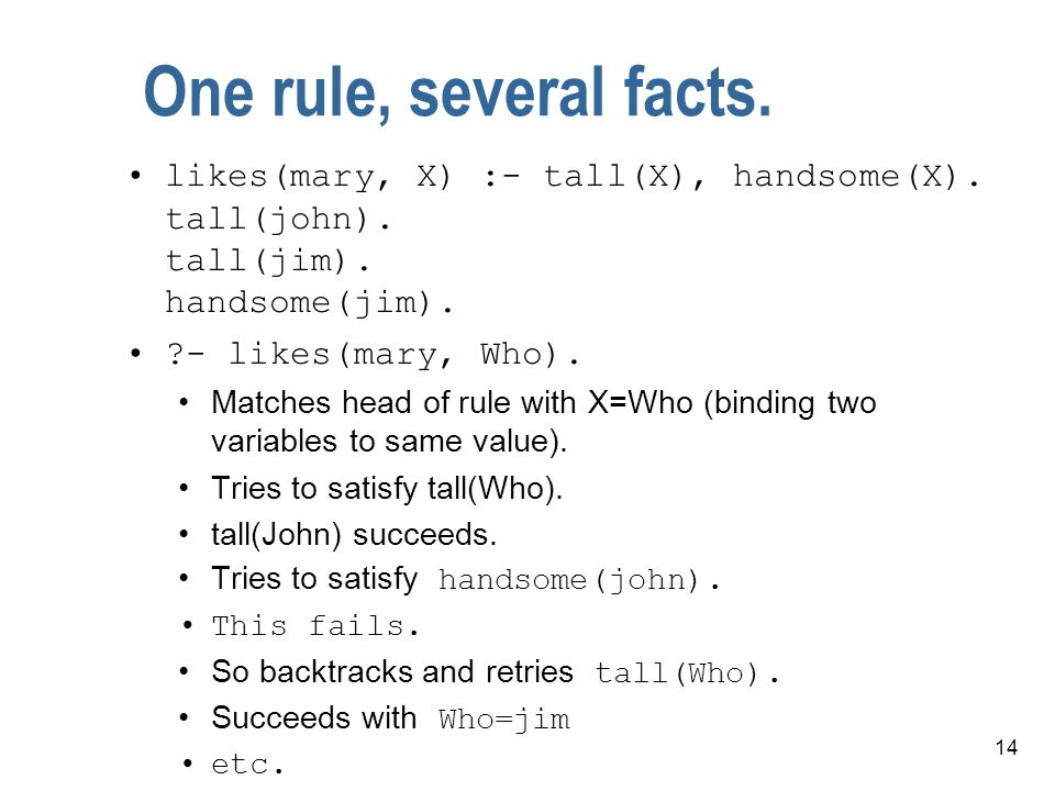 14 One rule, several facts. likes(mary, X) :- tall(X), handsome(X).
