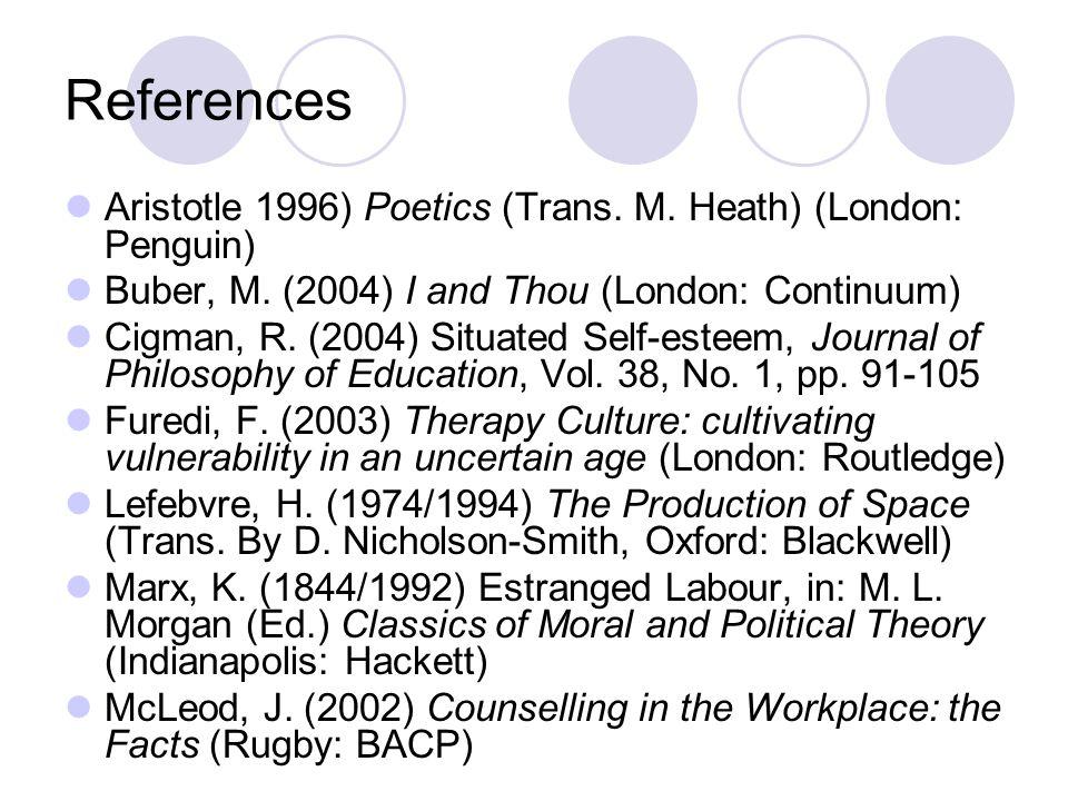 References Aristotle 1996) Poetics (Trans. M. Heath) (London: Penguin) Buber, M.