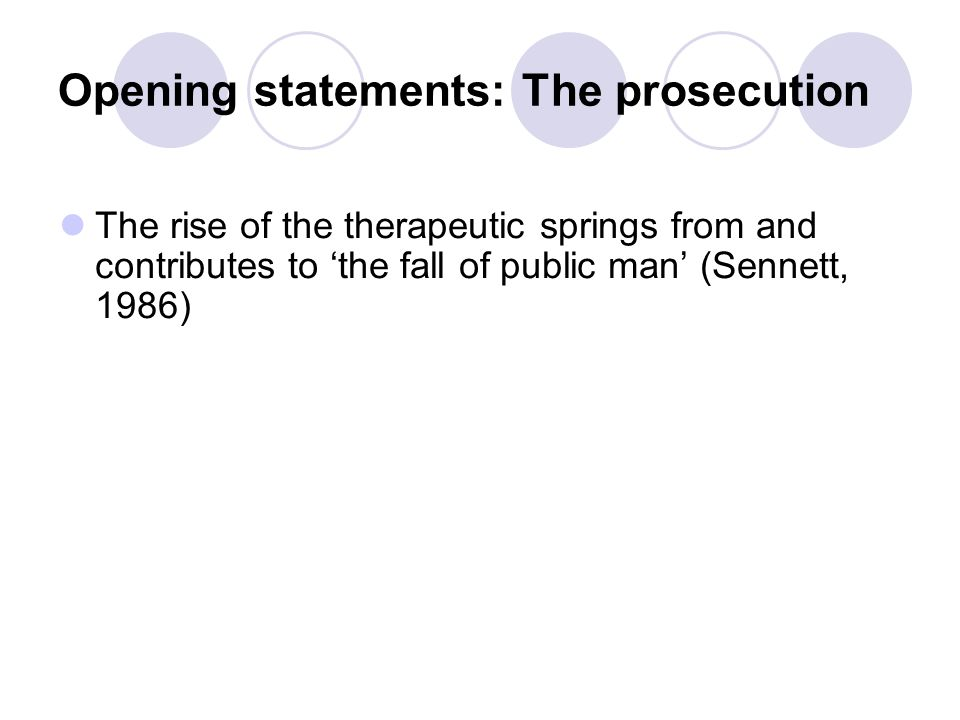 Opening statements: The prosecution The rise of the therapeutic springs from and contributes to 'the fall of public man' (Sennett, 1986)