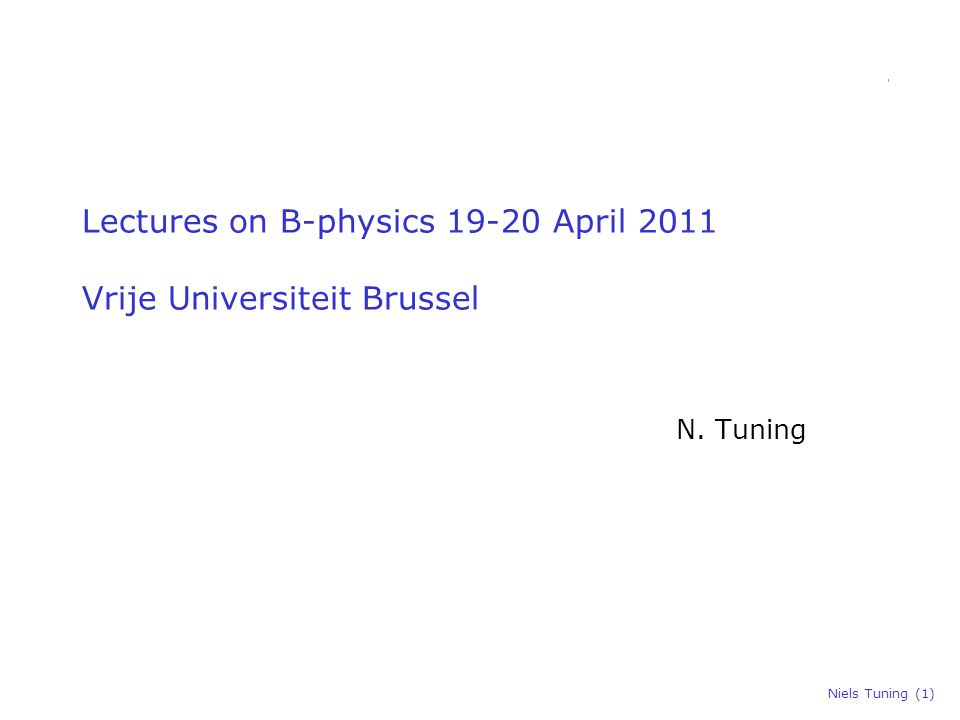 Niels Tuning (1) Lectures on B-physics 19-20 April 2011 Vrije Universiteit Brussel N. Tuning