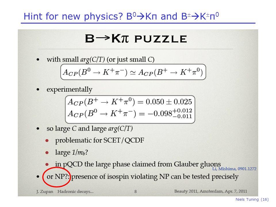 Hint for new physics? B 0  Kπ and B   K  π 0 Niels Tuning (16)