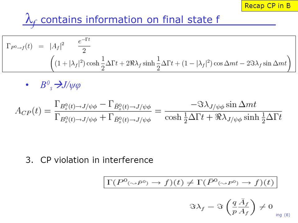 λ f contains information on final state f Niels Tuning (8) B 0 s  J/ψφ 3.CP violation in interference Recap CP in B
