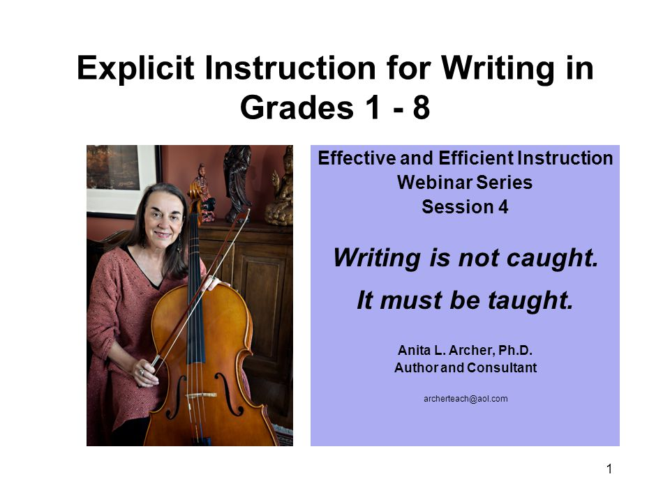 1 Explicit Instruction for Writing in Grades 1 - 8 Effective and Efficient Instruction Webinar Series Session 4 Writing is not caught. It must be taug