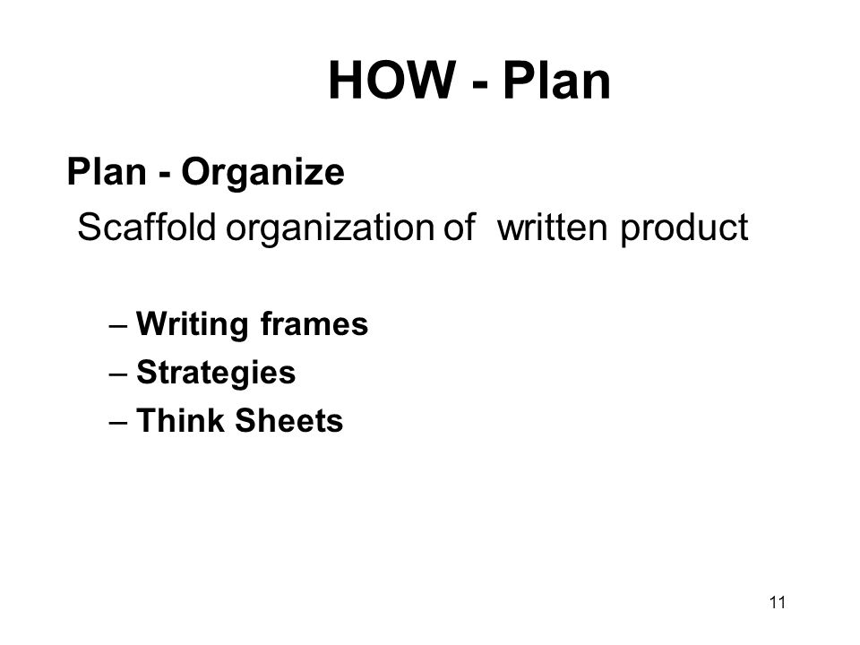 11 HOW - Plan Plan - Organize Scaffold organization of written product –Writing frames –Strategies –Think Sheets