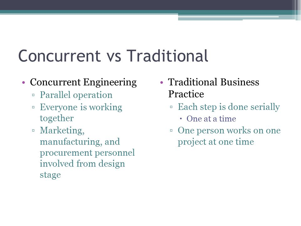 Concurrent vs Traditional Concurrent Engineering ▫Parallel operation ▫Everyone is working together ▫Marketing, manufacturing, and procurement personne