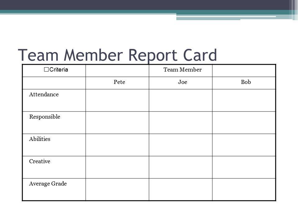 Team Member Report Card Criteria Team Member PeteJoeBob Attendance Responsible Abilities Creative Average Grade