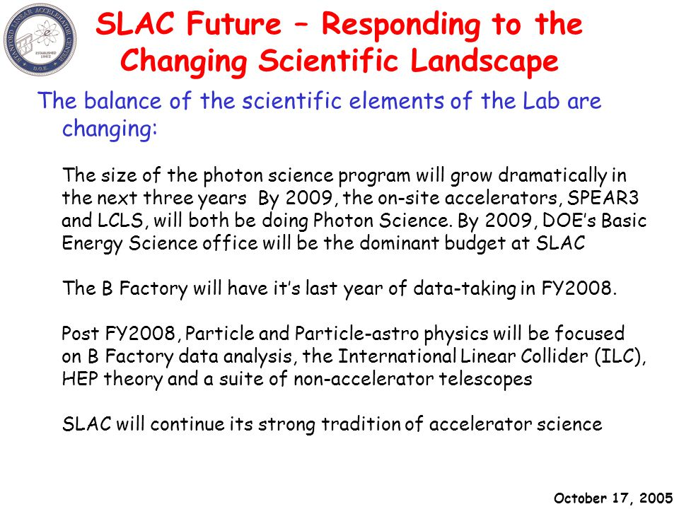 October 17, 2005 SLAC - Sept 15, 2004A hundred flowers in Beijing SLAC Future – Responding to the Changing Scientific Landscape The balance of the scientific elements of the Lab are changing: The size of the photon science program will grow dramatically in the next three years By 2009, the on-site accelerators, SPEAR3 and LCLS, will both be doing Photon Science.