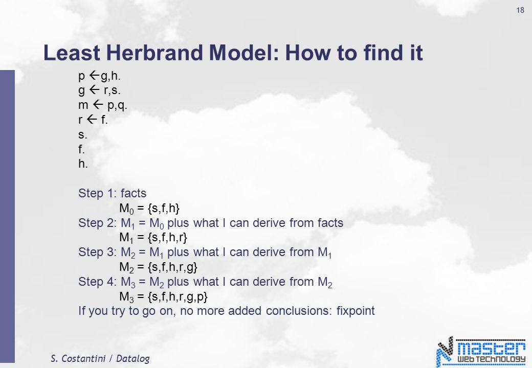 S. Costantini / Datalog 18 Least Herbrand Model: How to find it p  g,h.