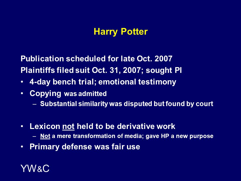 YW & C Harry Potter Publication scheduled for late Oct.