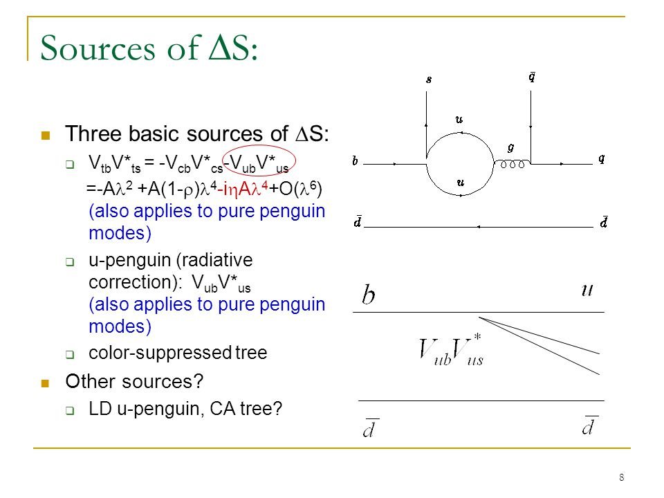 9 Corrections on  S Since V cb V* cs is real, a better expression is to use the unitary relation t =- u - c (define A u ≡F u -F t, A c ≡F c -F t; ; A u,A c : same order for a penguin dominated mode): Corrections can now be expressed as ( Gronau 89 ) To know C f and  S f, both r f and  f are needed.