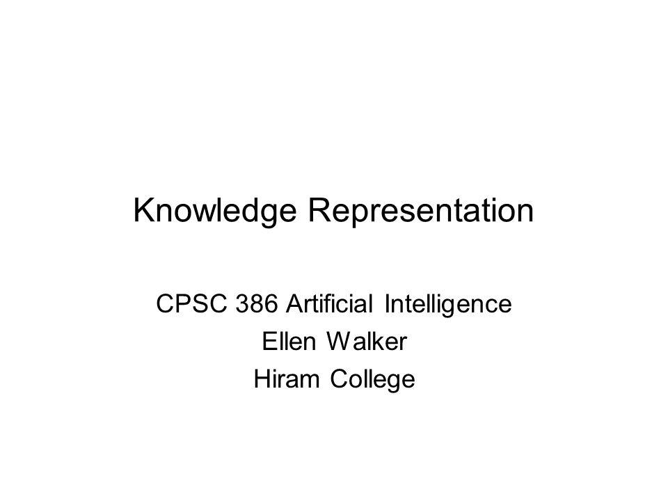 Knowledge Representation CPSC 386 Artificial Intelligence Ellen Walker Hiram College