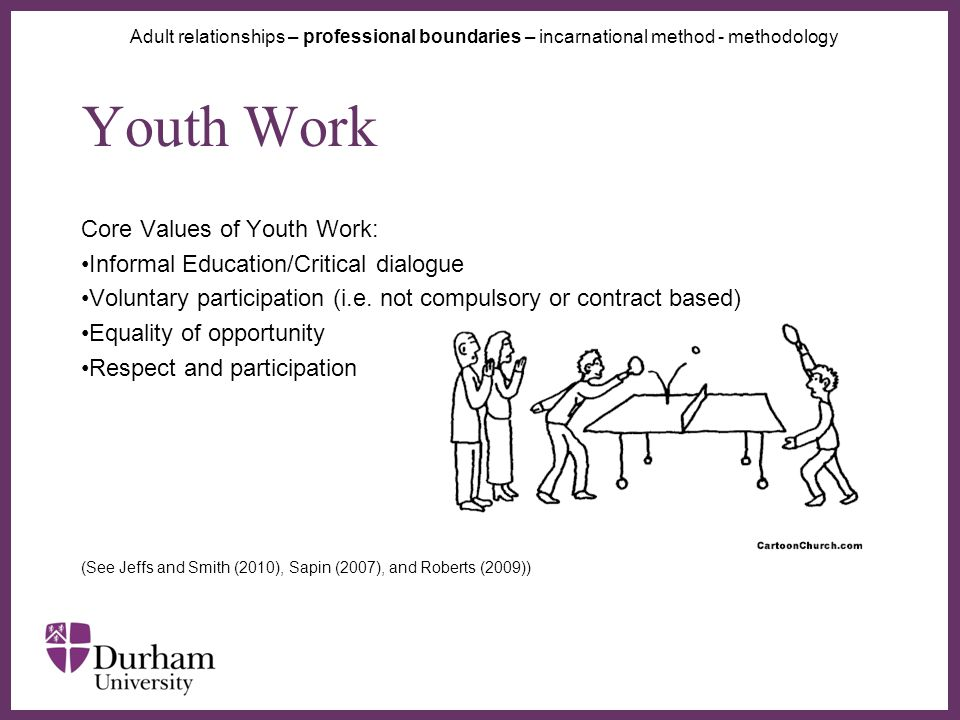 ∂ Youth Work Core Values of Youth Work: Informal Education/Critical dialogue Voluntary participation (i.e.
