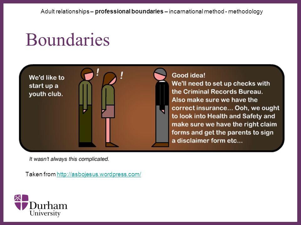 ∂ Boundaries Taken from http://asbojesus.wordpress.com/http://asbojesus.wordpress.com/ Adult relationships – professional boundaries – incarnational method - methodology