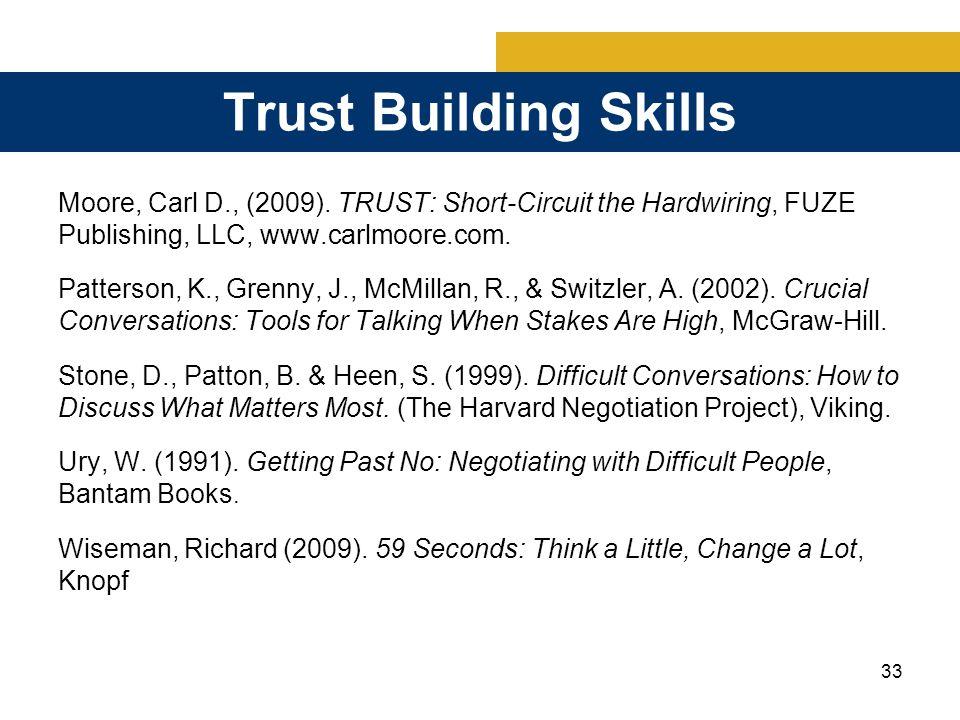33 Trust Building Skills Moore, Carl D., (2009).
