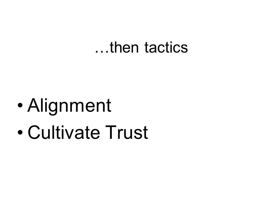 …then tactics Alignment Cultivate Trust