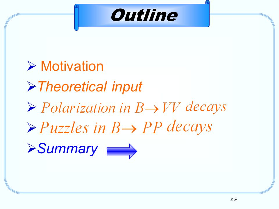 36  Motivation  Theoretical input   Summary Outline