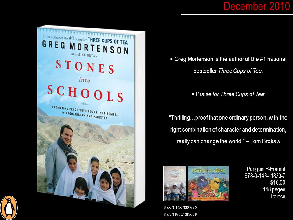  Greg Mortenson is the author of the #1 national bestseller Three Cups of Tea.