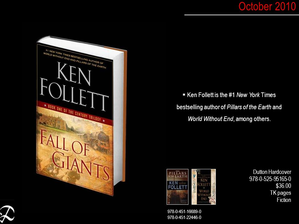  Ken Follett is the #1 New York Times bestselling author of Pillars of the Earth and World Without End, among others.