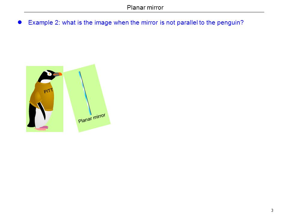 3 Planar mirror Example 2: what is the image when the mirror is not parallel to the penguin?