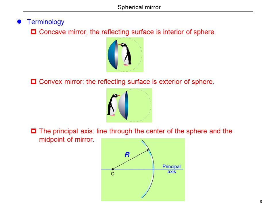 6 Spherical mirror Terminology  Concave mirror, the reflecting surface is interior of sphere.