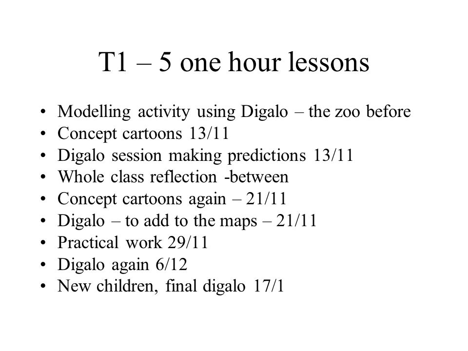 T1 – 5 one hour lessons Modelling activity using Digalo – the zoo before Concept cartoons 13/11 Digalo session making predictions 13/11 Whole class reflection -between Concept cartoons again – 21/11 Digalo – to add to the maps – 21/11 Practical work 29/11 Digalo again 6/12 New children, final digalo 17/1