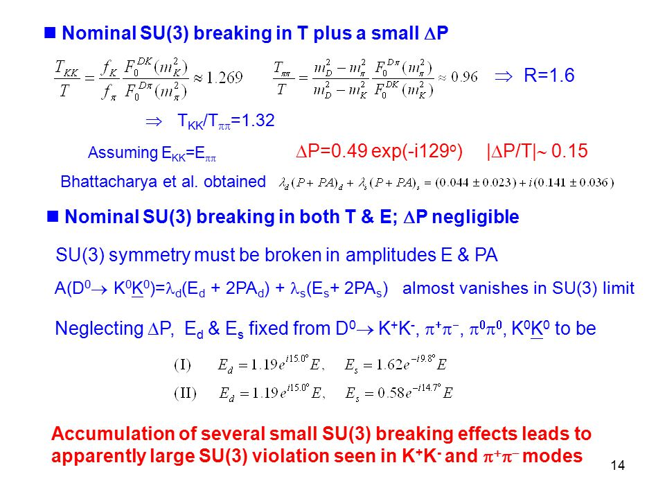 14  R=1.6 Nominal SU(3) breaking in T plus a small  P  P=0.49 exp(-i129 o ) |  P/T|  0.15 Bhattacharya et al.