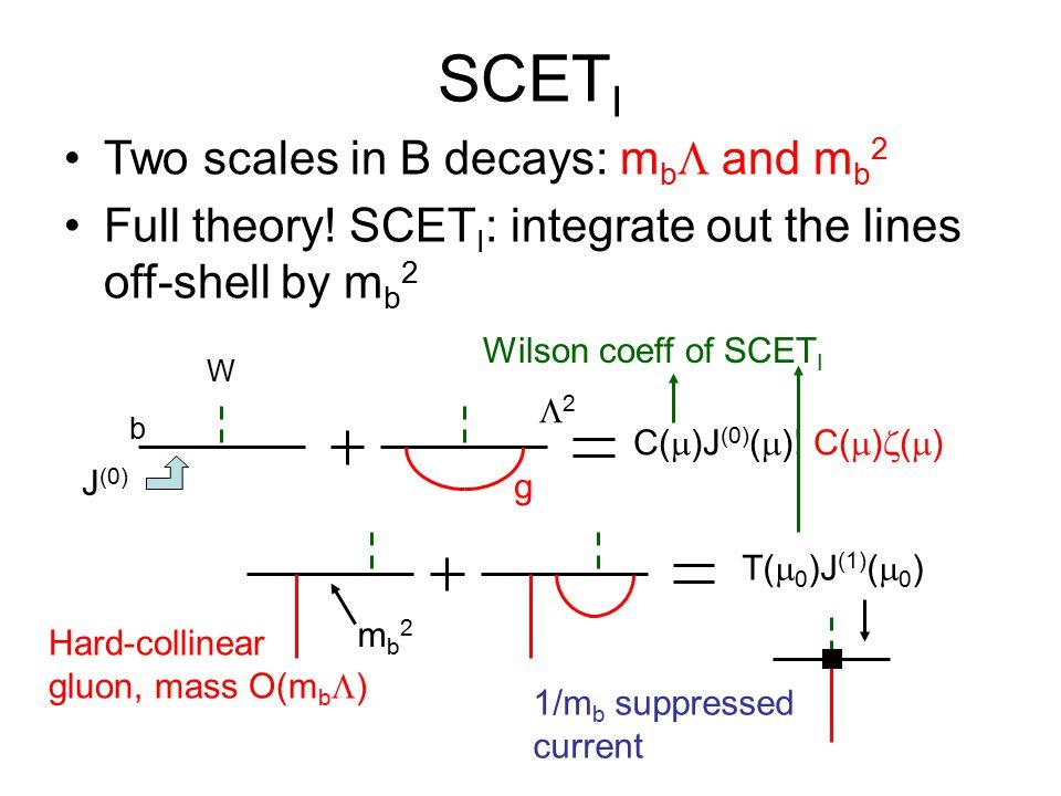 SCET I Two scales in B decays: m b  and m b 2 Full theory.