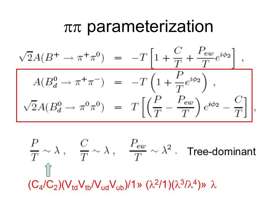  parameterization (C 4 /C 2 )(V td V tb /V ud V ub )/1» ( 2 /1)( 3 / 4 )» Tree-dominant