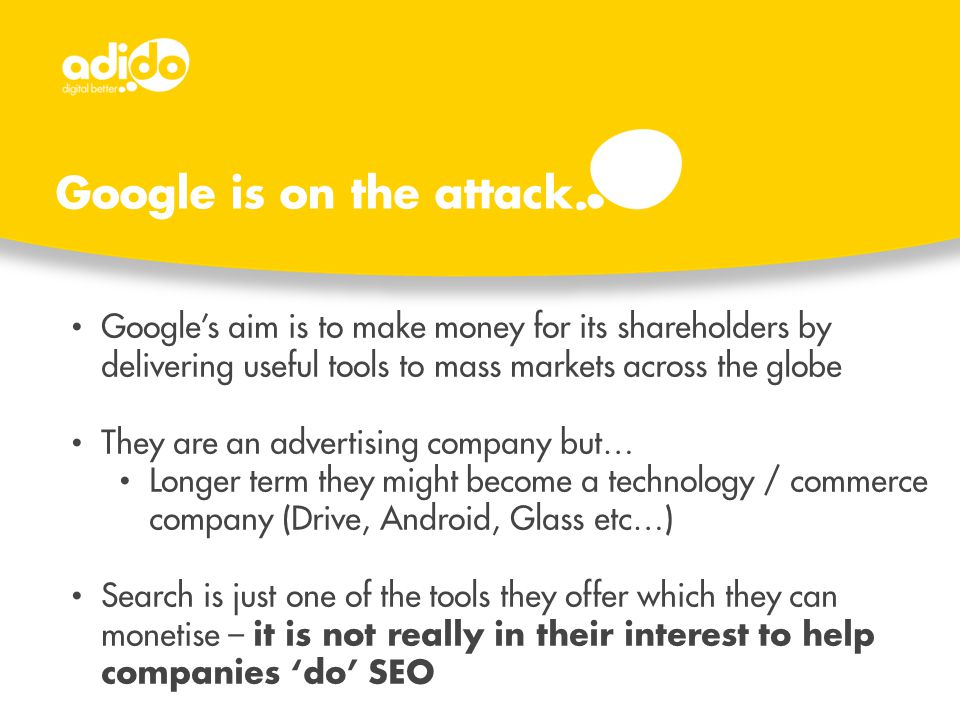 Google's aim is to make money for its shareholders by delivering useful tools to mass markets across the globe They are an advertising company but… Lo