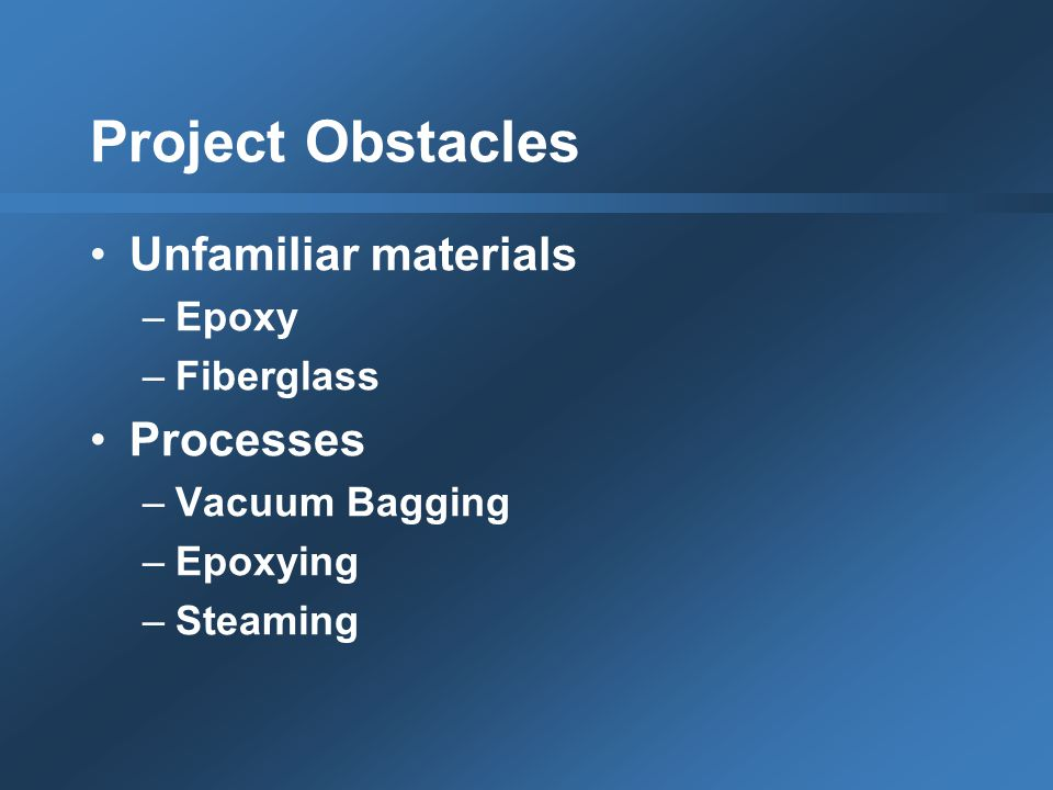 Project Obstacles Unfamiliar materials –Epoxy –Fiberglass Processes –Vacuum Bagging –Epoxying –Steaming