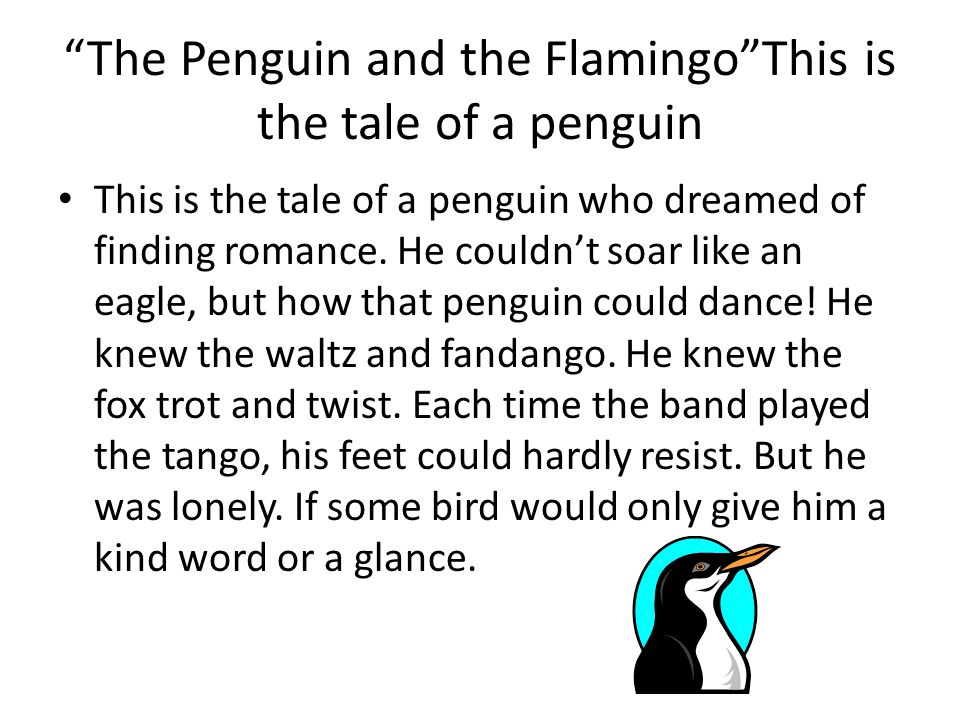 The Penguin and the Flamingo This is the tale of a penguin This is the tale of a penguin who dreamed of finding romance.