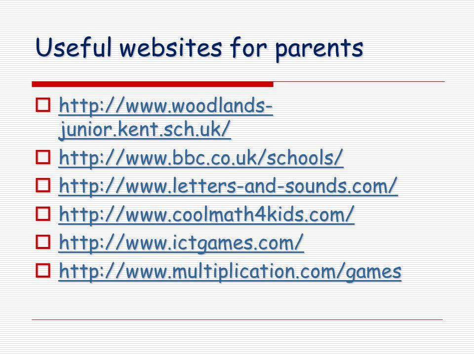 Useful websites for parents  http://www.woodlands- junior.kent.sch.uk/ http://www.woodlands- junior.kent.sch.uk/ http://www.woodlands- junior.kent.sch.uk/  http://www.bbc.co.uk/schools/ http://www.bbc.co.uk/schools/  http://www.letters-and-sounds.com/ http://www.letters-and-sounds.com/  http://www.coolmath4kids.com/ http://www.coolmath4kids.com/  http://www.ictgames.com/ http://www.ictgames.com/  http://www.multiplication.com/games http://www.multiplication.com/games