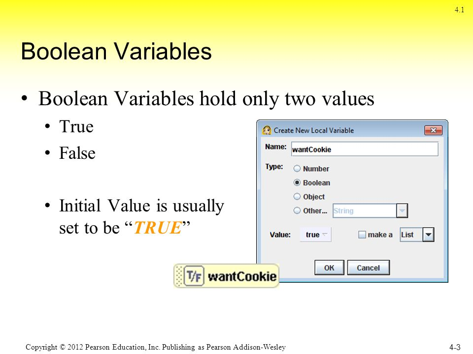 Copyright © 2012 Pearson Education, Inc. Publishing as Pearson Addison-Wesley Boolean Variables Boolean Variables hold only two values True False Init