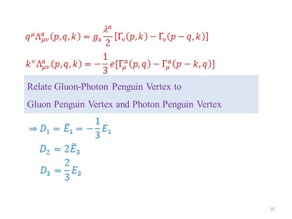 Relate Gluon-Photon Penguin Vertex to Gluon Penguin Vertex and Photon Penguin Vertex 16