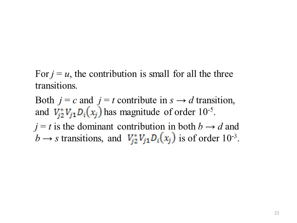 21 For j = u, the contribution is small for all the three transitions. Both j = c and j = t contribute in s → d transition, and has magnitude of order