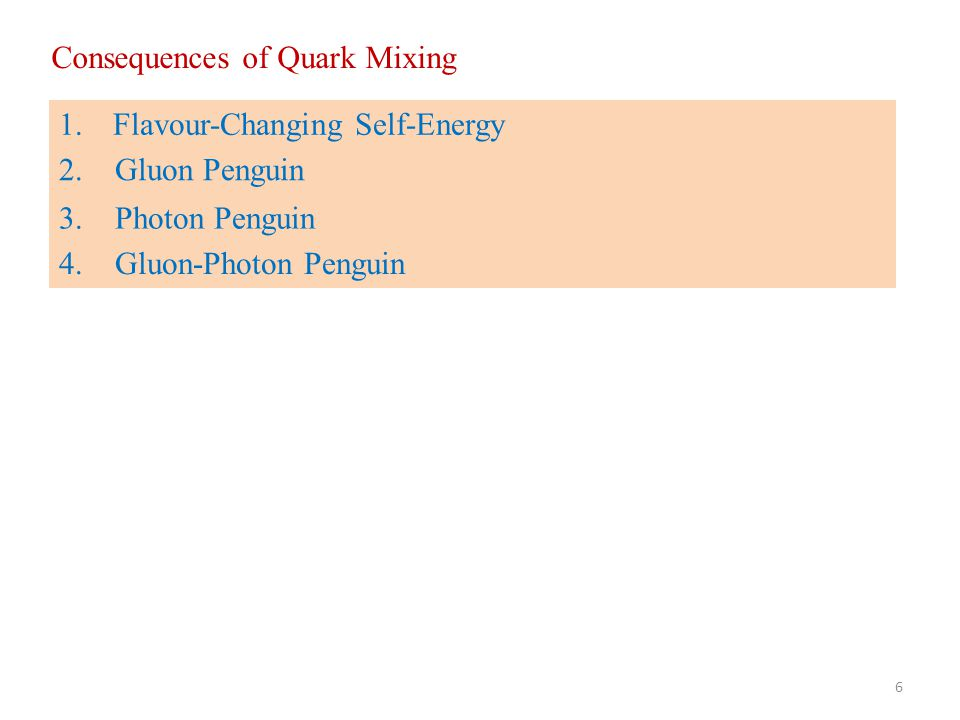Consequences of Quark Mixing 1.Flavour-Changing Self-Energy 2. Gluon Penguin 3. Photon Penguin 4. Gluon-Photon Penguin 6