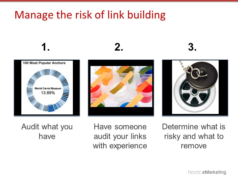 1.2.3. Have someone audit your links with experience Audit what you have Determine what is risky and what to remove Manage the risk of link building