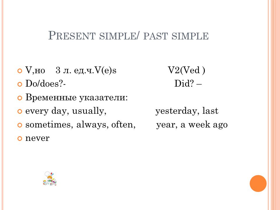 P RESENT SIMPLE / PAST SIMPLE V,но 3 л. ед.ч.V(e)s V2(Ved ) Do/does - Did.
