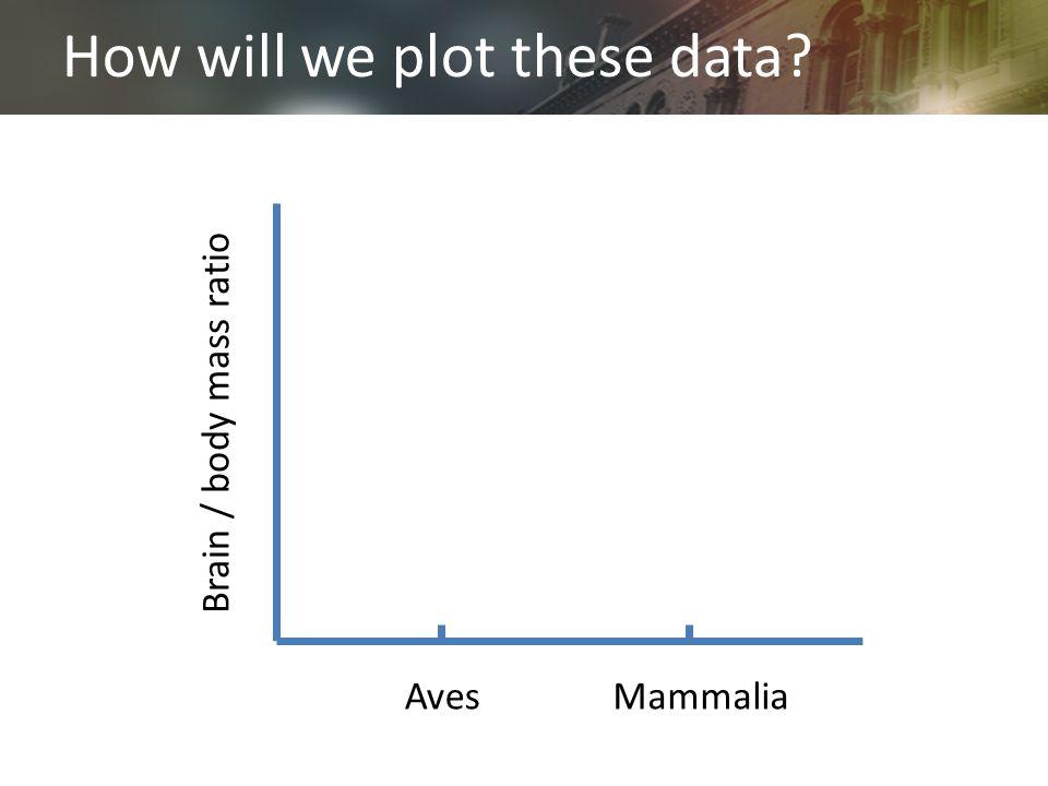 How will we plot these data? AvesMammalia Brain / body mass ratio