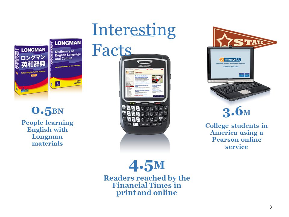 8 4.5 M Readers reached by the Financial Times in print and online 0.5 BN People learning English with Longman materials 3.6 M College students in America using a Pearson online service Interesting Facts