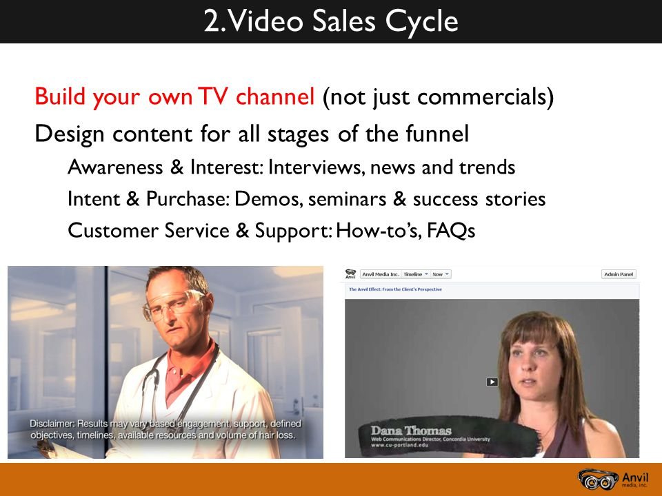 2. Video Sales Cycle Build your own TV channel (not just commercials) Design content for all stages of the funnel Awareness & Interest: Interviews, ne