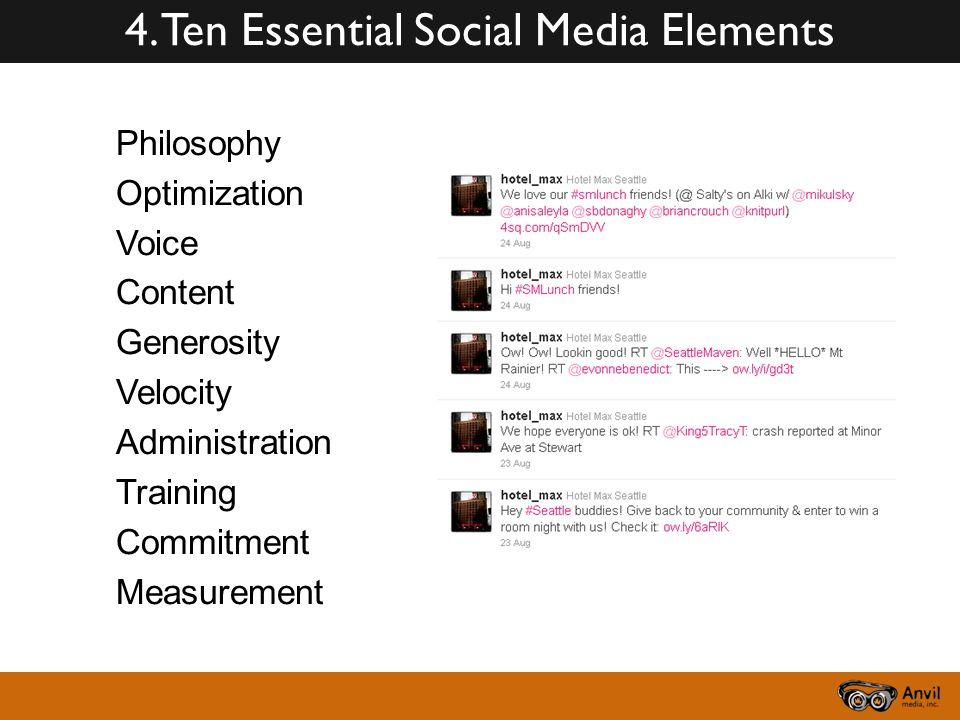 4. Ten Essential Social Media Elements Philosophy Optimization Voice Content Generosity Velocity Administration Training Commitment Measurement