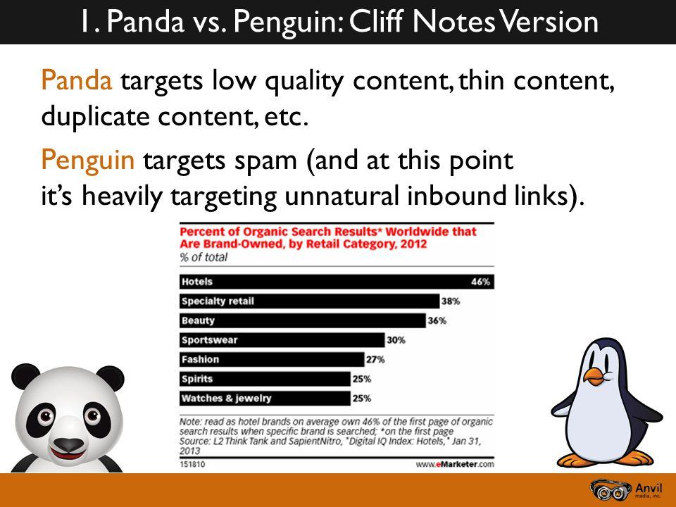 1. Panda vs. Penguin: Cliff Notes Version Panda targets low quality content, thin content, duplicate content, etc. Penguin targets spam (and at this p