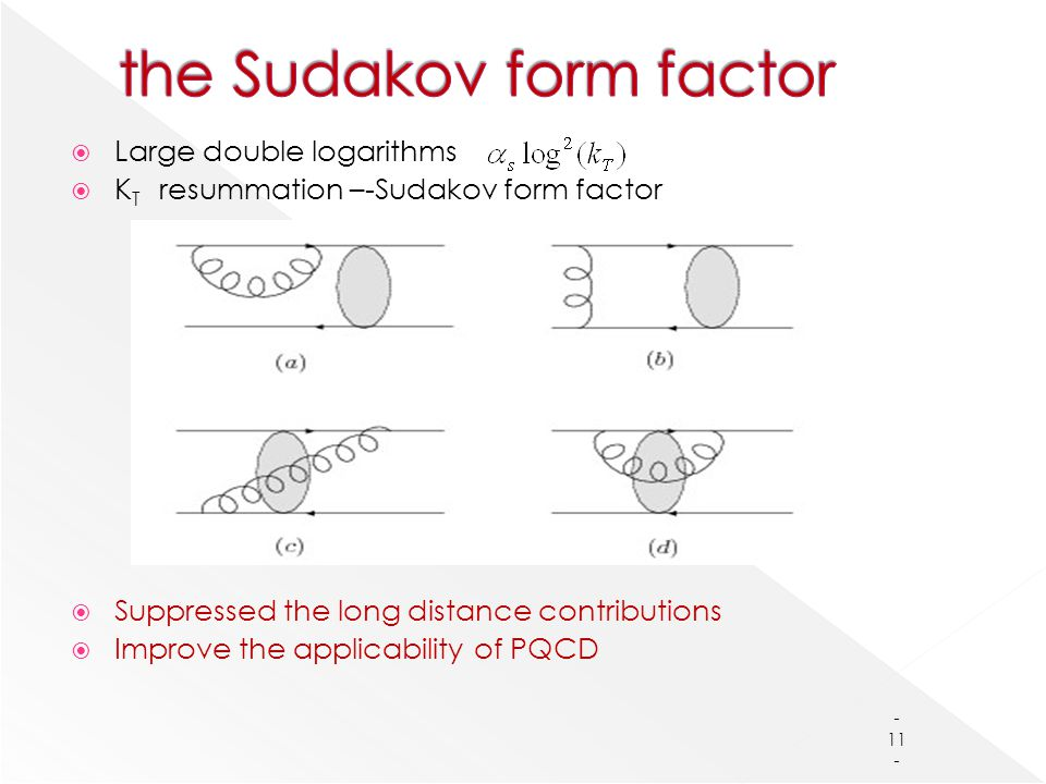  Large double logarithms  K T resummation –-Sudakov form factor  Suppressed the long distance contributions  Improve the applicability of PQCD - 11 -