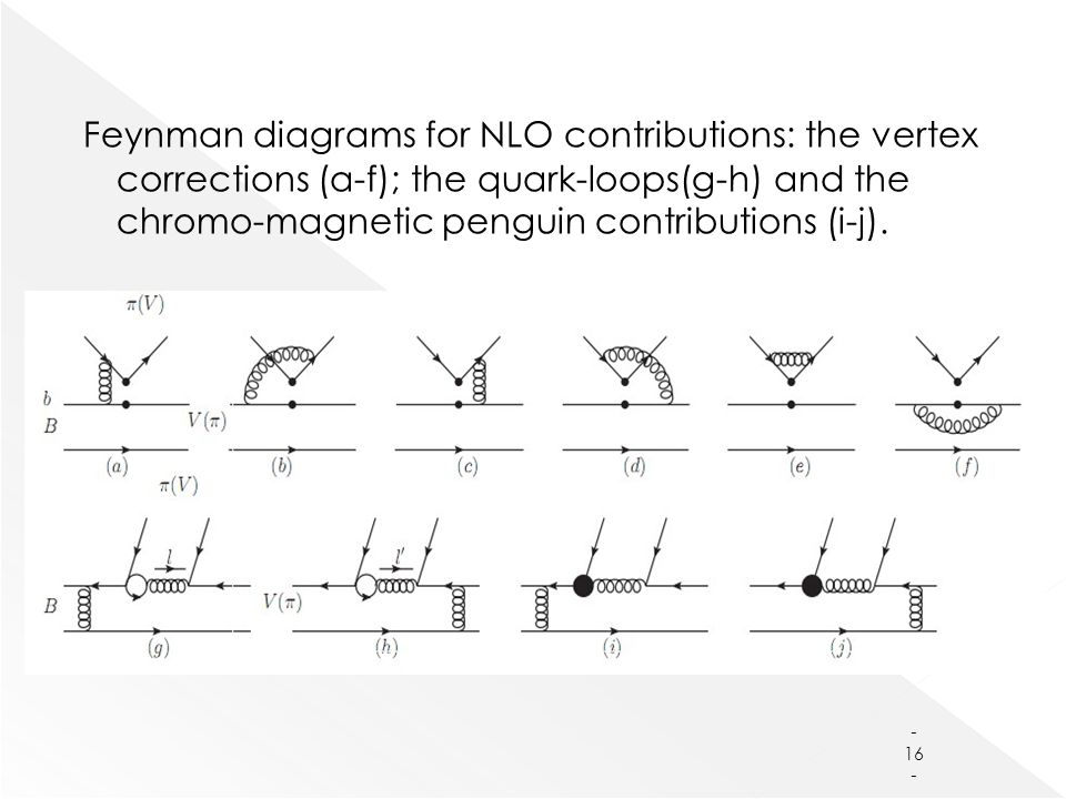 Feynman diagrams for NLO contributions: the vertex corrections (a-f); the quark-loops(g-h) and the chromo-magnetic penguin contributions (i-j).