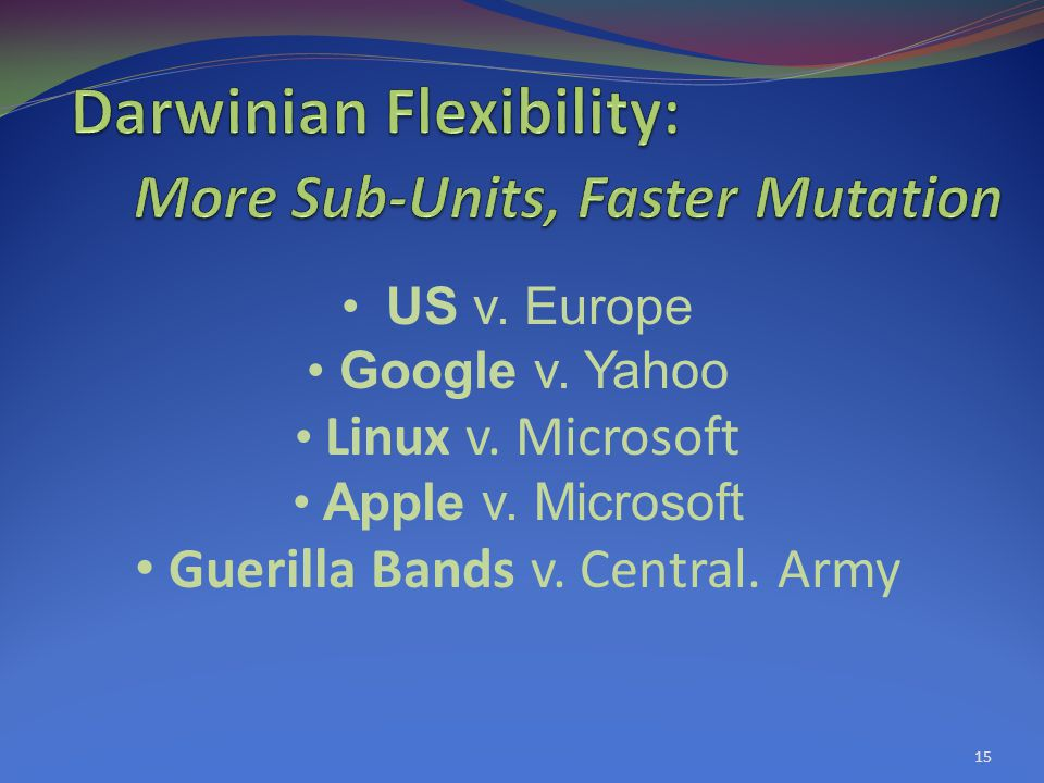 15 US v. Europe Google v. Yahoo Linux v. Microsoft Apple v.