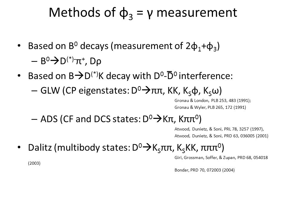 Methods of φ 3 = γ measurement Based on B 0 decays (measurement of 2φ 1 +φ 3 ) – B 0  D (*)- π +, Dρ Based on B  D (*) K decay with D 0 -D 0 interfe